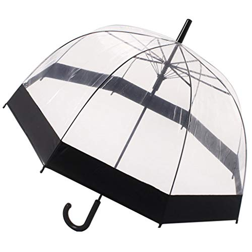 Clear Transparent Bubble Umbrella Auto Open,Windproof Automatic - Strong,Lightweight, Transparent,Waterproof (Black) (Color : -