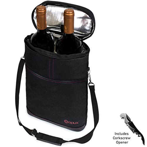 (Premium Insulated 2 Bottle Wine Carrier | Wine Tote Bag with Shoulder Strap and Corkscrew Opener | Padded Wine Cooler Carrying Bag for Travel -Black)