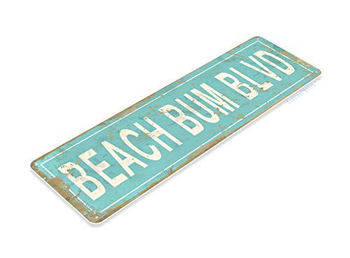 Tin Sign Beach Bum BLVD Rustic Lake Beach House Cottage Cabin Cave Metal Sign Decor C517