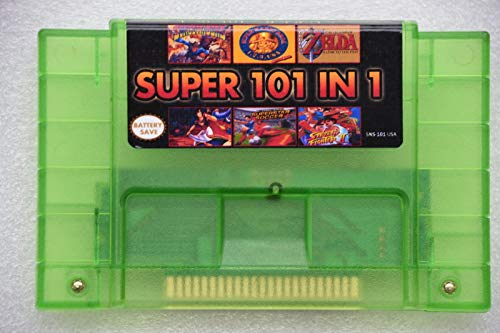 Transparent Green 101 in 1 SNES Game Cartridge 16 bit 46pin Video Game Cartridge USA Version Save Functions