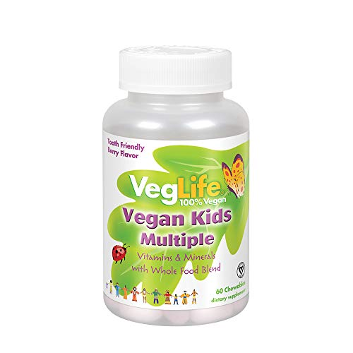 VegLife Vegan Kids Multiple | Natural Berry Flavor Chewable Multivitamin and Mineral | Whole Food Blend w/ Spirulina | No Added Sugar | 60 Chewables