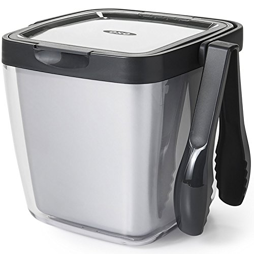 OXO Good Grips Double Wall Ice Bucket with Tongs and Garnish Tray (Cocktail Ice Tongs)