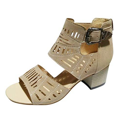Goddessvan Women Gladiator Sandals Peep Toe High Heel Solid Buckle Strap Casual Shoes Khaki