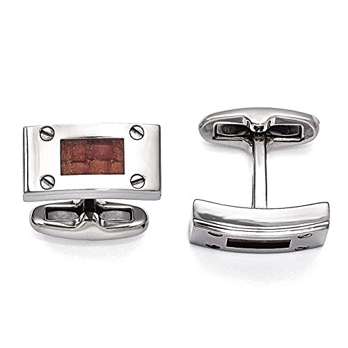 Lex & Lu Edward Mirell Titanium & Brown Leather Polished Cuff Links-Prime (Brown Titanium Cufflinks)