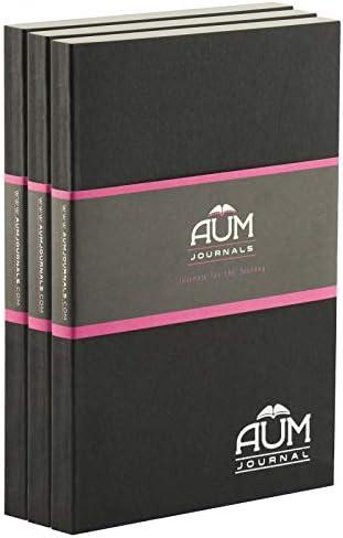 Aum Tagebuch, A5, liniertes Tagebuch, A5, 21 x 15 cm, schwarzes Notizbuch, 208 Seiten, elfenbeinfarben, getöntes Schreibpapier, A5-Nachfüllblock für A5-Journal A5 Plain 3 Pack