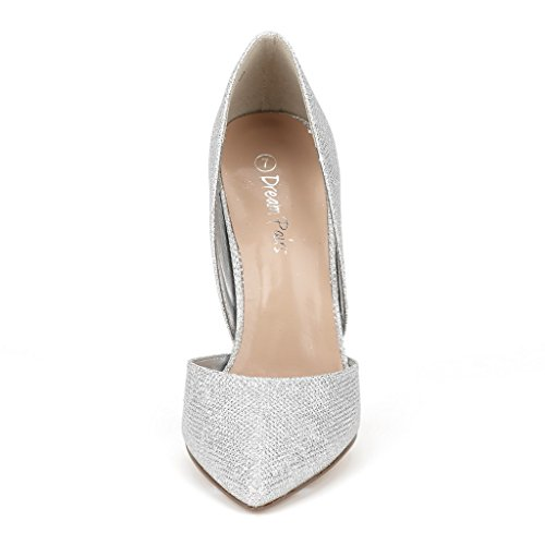 Paires De Rêve Femmes Oppointed Robe Pompe Stiletto Talon Chaussures Oppointed-paillettes Dargent