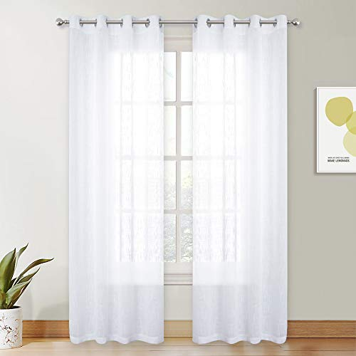 PONY DANCE Window Sheers Curtains - White Voile Panels Grommet Top Thick Faux Linen Look Design Semi-Sheer Curtain Drapes Light Filter for Living Room Bay Windows, 52 x 84 in, Set of 2