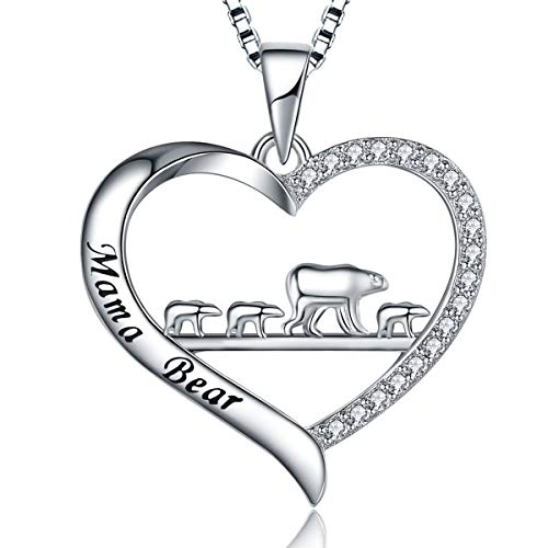 MUATOGIML 925 Sterling Silver Engraved Mama Bear Mother Daughter Love Heart Pendant Necklace, Jewelry Gifts for Women Girls Wife ()