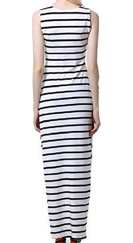 Casual Sleeveless Maxi Fashional Pinstripe Women Dress Irregular Coolred White IF4wqxx