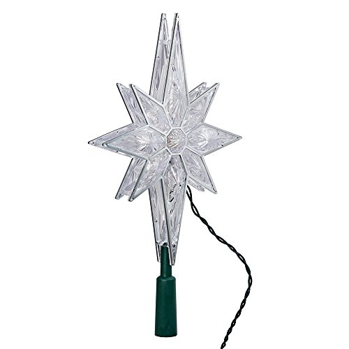 Kurt Adler 10-Light 10-1/2-Inch Clear LED 8-Point Star Treetop