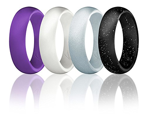 ROQ Silicone Wedding Ring for Women, Set of 4 Silicone Rubber Wedding Bands - Black with Glitter Sparkle Silver, Purple, White, Metal Look Silver - Size 7]()