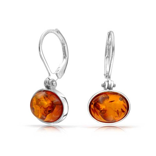 Simple Honey Amber Round Bezel Set Leverback Drop Earrings For Women 925 Sterling Silver 8MM