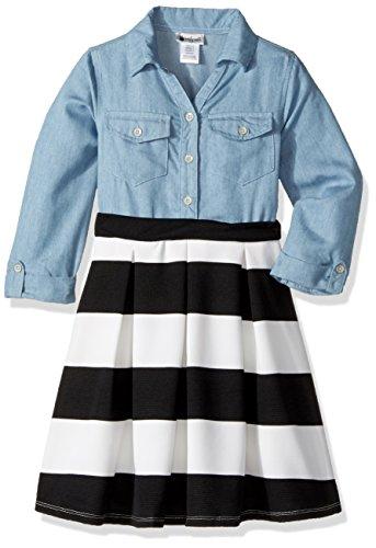 Youngland Little Girls' Chambray Shirt Dress, Denim, 6X (Chambray Dress For Girls)