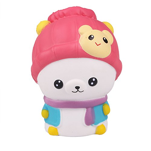 AIKEMI New Year Squishies Slow Rising Bear Squishy Prime Scented Toys Christmas Gifts(red)