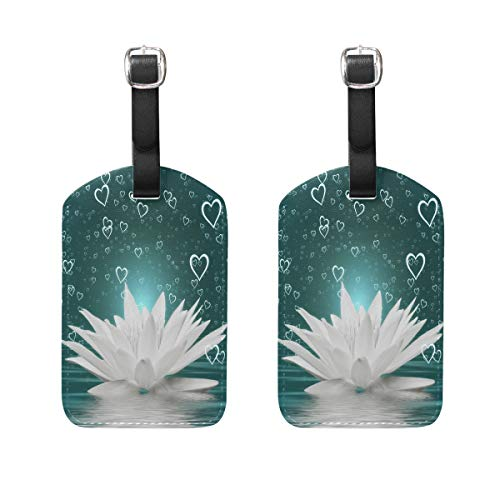 MUOOUM White Lotus Love Heart Luggage Tages Travel Labels Suitcase Bag Tag with Name Address Cards 2 Pcs Set -