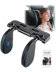 Car Seat Pillow Headrest Neck Support - Adjustable Car Headrest Travel Sleeping Cushion for Kids Adults Black (Black)