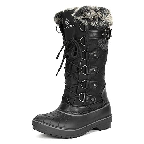 DP-Avalanche Black Faux Fur Lined Mid Calf Winter Snow Boots Size 7 M US ()