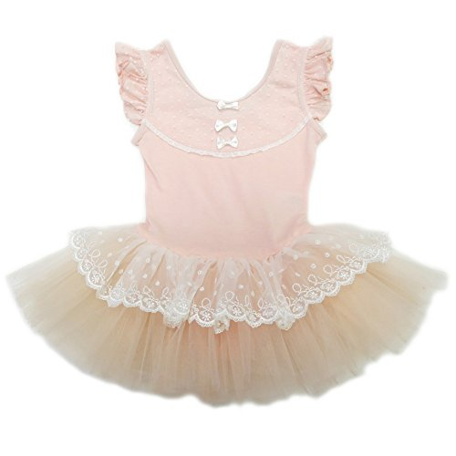 wenchoice Big Girls Peach Lace Bow Angel Wing Sleeve Ballet Dress XL (6-8)