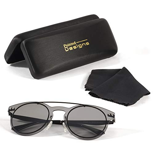 Sunglasses - Premium Round Polarized Sunglasses with Case and Cloth - by Pointed Designs ()