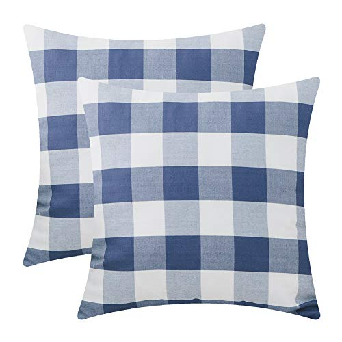 Checkered Pillow (Plaid Throw Pillow Covers for Couch - 2 Pack,Soft Polyster Cotton,Big Buffalo Checkered Pattern - Decorative Sofa Cushion Covers,Square Pillow-cases for Living Room,Bedroom,Car(Navy,18 x 18 Inch))