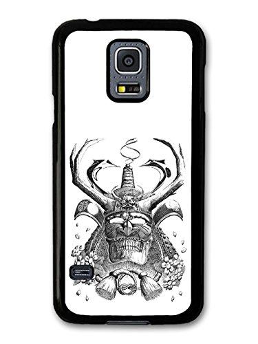 Samurai Helmet Black And White Flowers Cool Style Illustration coque pour Samsung Galaxy S5 mini