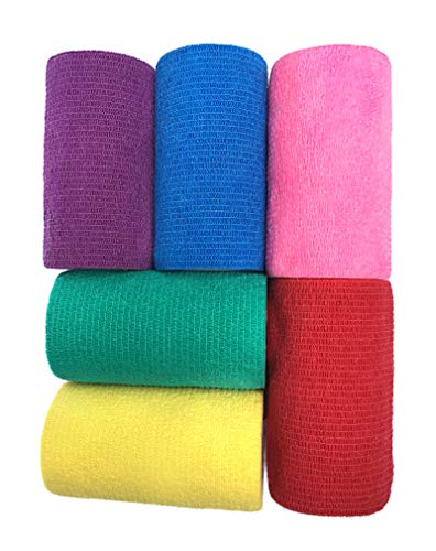 WildCow Vet Wrap Bulk 4'', Vet Tape Wrap Bandages Assorted Colors (Pack of 6) by WildCow (Image #3)