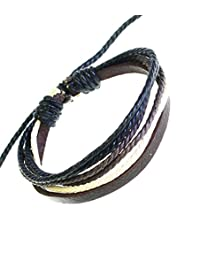 Neptune Giftware Mens Leather Strap & Coloured Cords Leather Bracelet / Leather Wristband / Surf Bracelet - 83