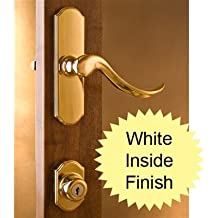 Normandy Bright Brass Surface Mount Lockset with Painted White Interior 1 Inch Thick Door
