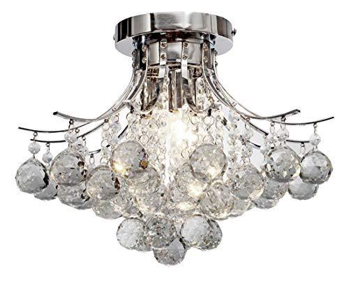Top Lighting Modern Style 4-Light Chrome Finish Crystal Chandelier Flush Mount Ceiling Light Fixture W16