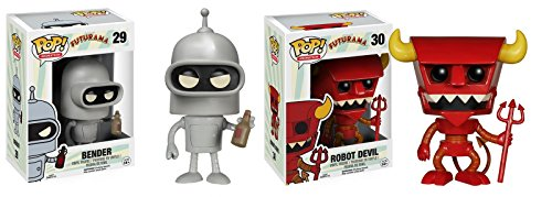 Futurama Cartoon Figure Bender Robot Devil Funko Pop Animation Toy Set Bundle