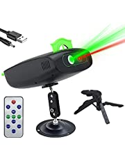 DJ Party Light Disco Stage Laser Lighting Projector Replaceable Pattern Cards Sound Activated Led Strobe Light with Remote Control for Dance Show Music KTV Bar Christmas Holiday Outdoor Decorative