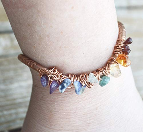 Rainbow Crystal Chakra Garnet Citrine Amethyst Tourmaline Gemstone Copper Wire Wrapped Chakra Bracelet Handmade Bangle Cuff Arthritis ()