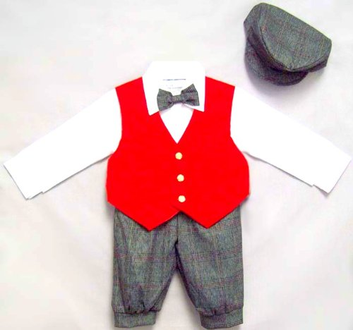 1T - Toddler Boy's Knickers Outfit with Red Velvet Vest, Hat, Shirt, Bow Tie (Knickers Velvet)