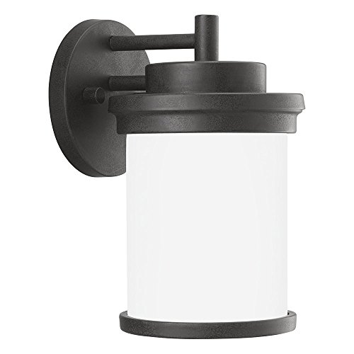 - Sea Gull Lighting 88660-185 Winnetka Outdoor One-Light Outdoor Wall Lantern with Satin Etched Glass Shade, Forged Iron Finish