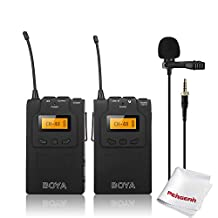 BOYA BY-WM6 UHF Wireless Omni-directional Lavalier Microphone with 48 Channels, More than 6 Hours Continuous Operation for ENG, EFP, DV, DSLR Video Camera