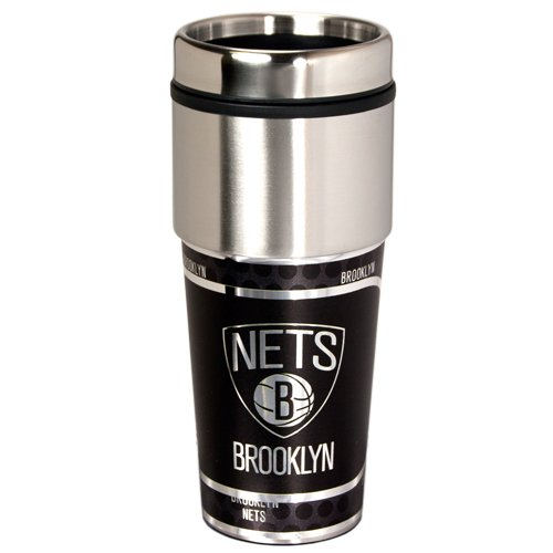 Products New Jersey Nets - Great American Products NBA New Jersey Nets Metallic Tumbler, One Size, Black