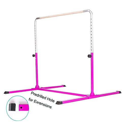 PreGymnastic Expandable Gymnastics Kip Bar with Predrilled Hole for Extensions, Adjustable Height 3ft-5ft Junior PRO Gymnastics Training Bar