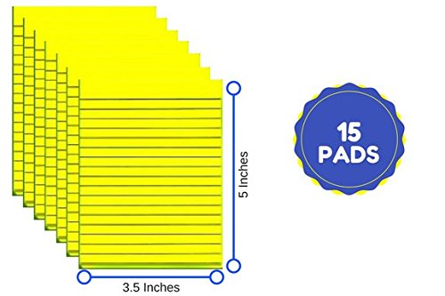 Yellow Writing Pads 3.5 X 5 Inches 25 Sheets, 15 Writing Tablets Pack, Total Of 375 Sheets (Pads Scratch Bulk)