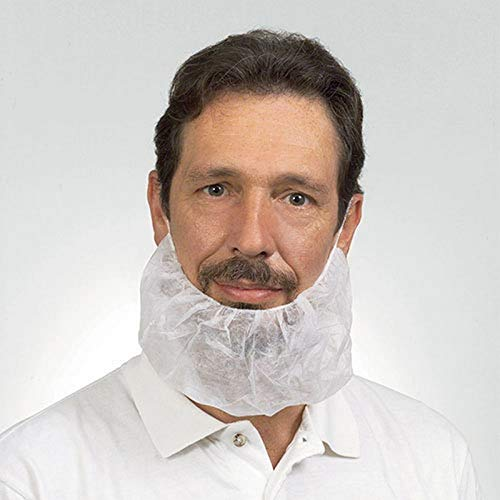 Polypropylene Beard Cover, Latex Free, White (1000 Per Case) by The Safety Zone