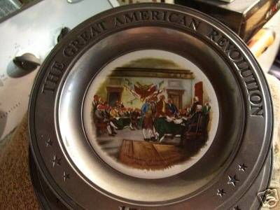 Pewter & Ceramic Plate: Great American Revolution 1776 (Canon Plate)