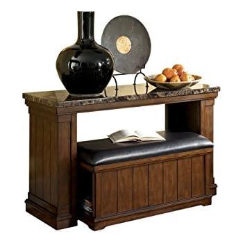 Ashley Furniture Signature Design   Merihill Sofa Console Table With  Ottoman   Rectangular   Medium Brown