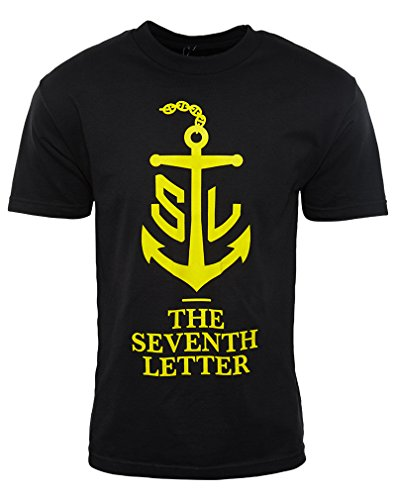 The Seventh Letter Anchor Symbol Short Sleeves Crewneck Tee Mens Style: KT11G07401-BLACK/YELLOW Size: (7th Letter)