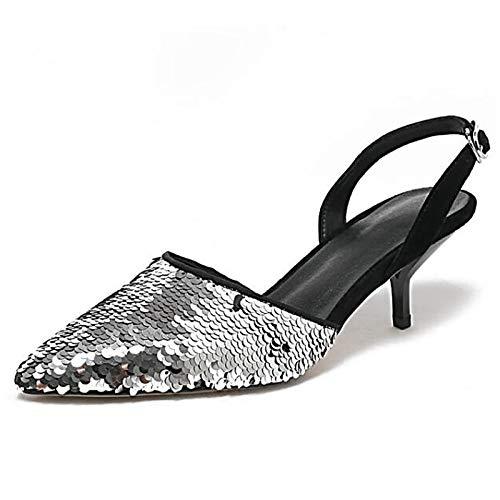 ZHZNVX Zapatos de Mujer de Piel de Oveja Verano Bomba básica Talones tacón de Aguja Negro/Plata / Azul Silver