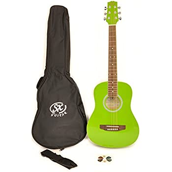 SX RSM 1 12 JGN LH 1/2 Size Left Handed Jelly Bean Green Acoustic Guitar Package with Carry Bag, Strap, and Guitar Picks Included