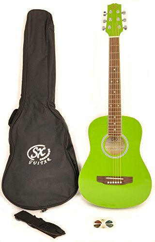 SX RSM 1 34 JGN LH 3/4 Size Left Handed Jellybean Green Acoustic Guitar Package, Black with Carry Bag, Strap, and Guitar Picks Included by SX