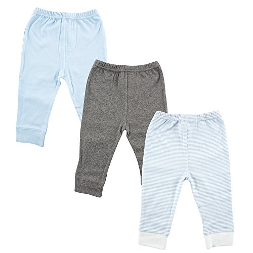 Luvable Friends Unisex 3 Pack Tapered Ankle Pants, Light Blue Stripe, 3-6 Months