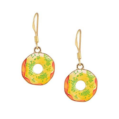 chelseachicNYC Whimsical Charm Dangle Earrings Yellow Cream Donut