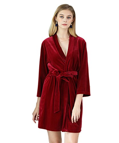 Women's Fleece Microfiber Bathrobe, Soft Cotton Bathrobe