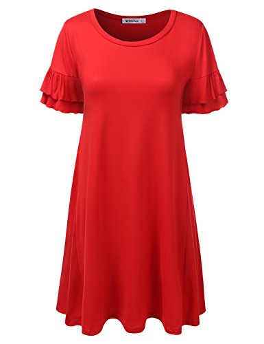 CLOVERY Women's Casual Loose Fit Simple Ruffle Tweed Short Sleeve Flare Tunic Dress RED S ()