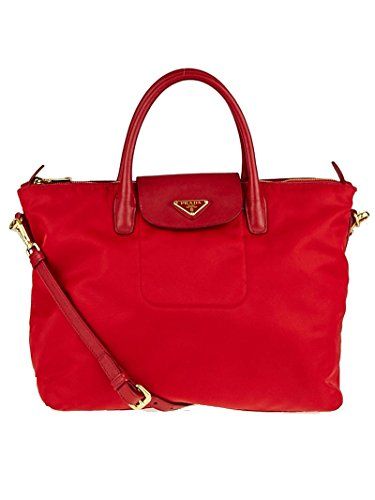 Prada Tessuto Saffiano Nylon Tote Shopping Shoulder Bag Papaya (Nylon Prada Handbag)